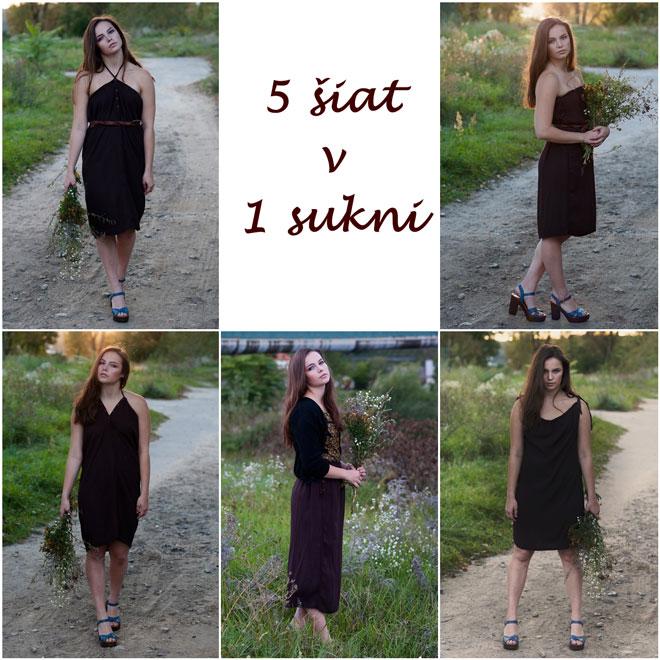 Variabilné hnedé šaty, ktoré oblečiete na 5 spôsobov a ako sukňu