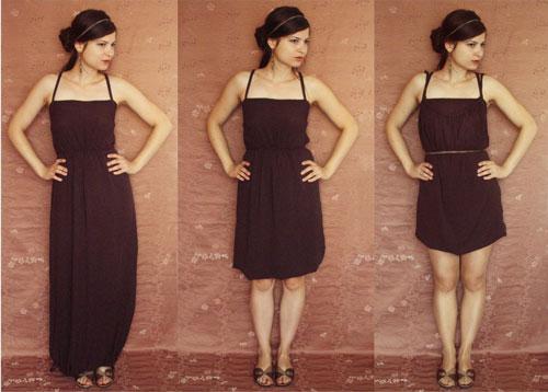 Hnedé variabilné šaty, ktoré oblečiete ako dlhé šaty a aj ako krátke šaty.