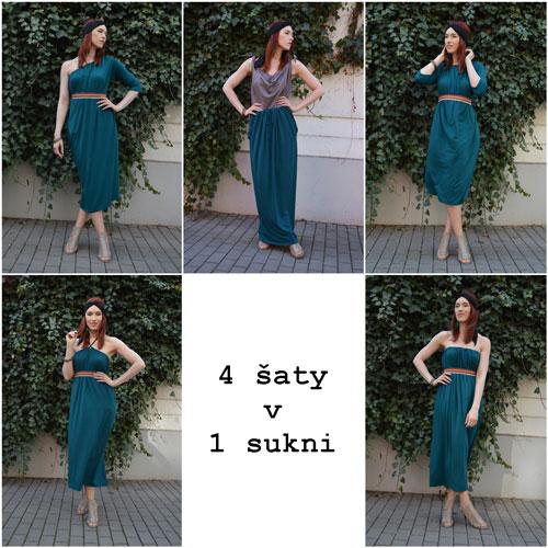 Modrozelené polodlhé šaty bez ramienok, s viazaním za krkom, s jedným rukávom a s dvoma trištvrťovými rukávmi a dlhá sukňa