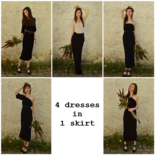 The model is pictured 5 times wearing long black skirt, dress with one sleeve, dress with two three quarter sleeves, strapless dress and dress tied behind neck. It is all one piece of clothing.