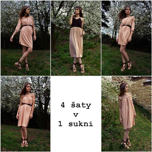 Modelka zobrazená 4 krát v krátkych ružových šatách bez ramienok, s viazaním za krkom, s jednym rukávom a s dvoma trištvrťovými rukávmi a 1 krát v trištvrťovej sukni
