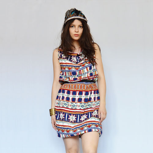 Recycled dress with indian pattern made from old summer pants
