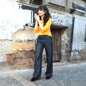 Široké riflové kalhoty s kapsami vpředu