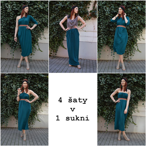 Dlouhá sukně smaragdové barvy. z níž lze udělat polodlouhé šaty s rukávy, šaty s jedním rukávem, šaty bez ramínek, šaty s vázáním kolem krku, šaty s odhalenými rameny a šaty s krátkymi rukávy