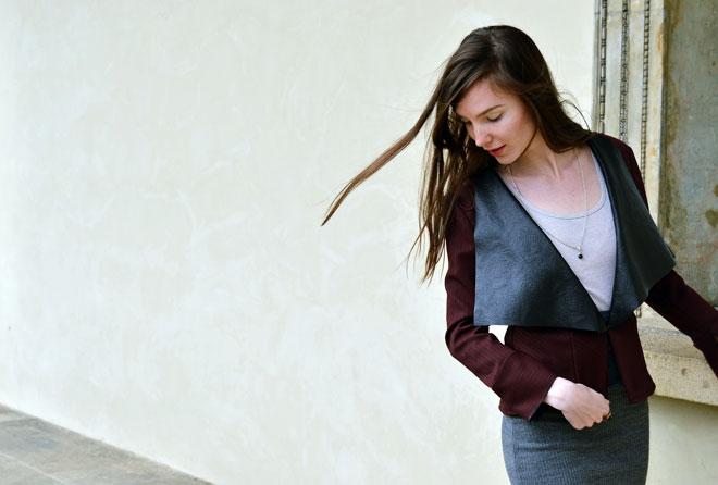 Bordové handmade multifunkční sako od slow fashion návrhářky