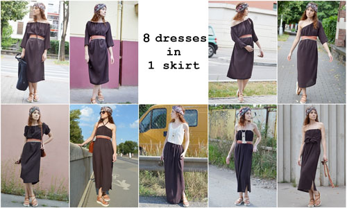 Brown multifunctional dress that you can wear in 8 ways and also as a skirt