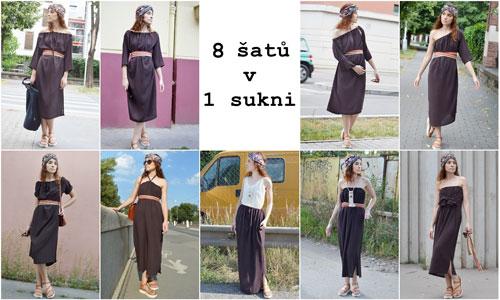 Hnědé variabilní šaty, které lze nosit na mnoho způsobů.