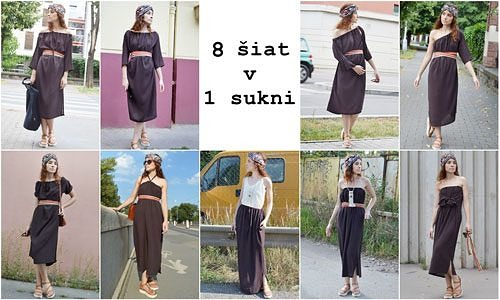 Hnedé multifunkčné šaty, ktoré sa dajú nosiť mnohými spôsobmi a aj ako sukňa.