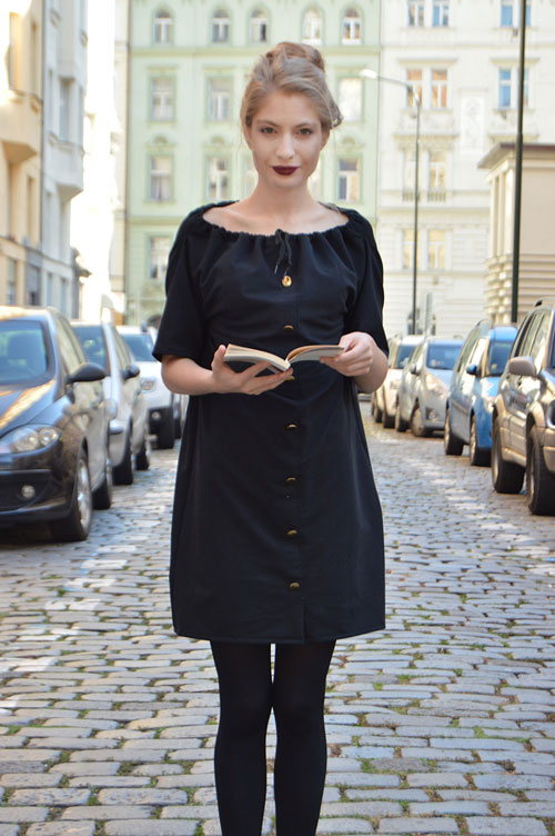 Variable black dress made by young fashion designer in Prague, Czech republic.