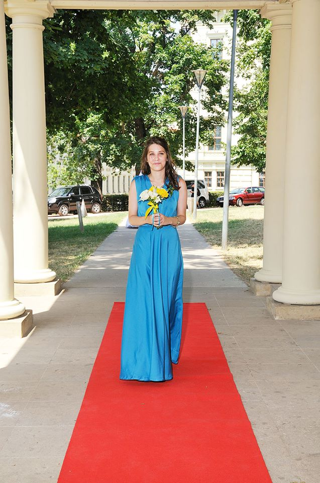 Bespoke dress made by young english speaking fashion designer Prague