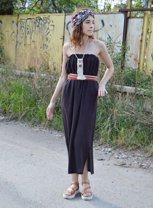 Hnědé multifunkční šaty bez ramínek