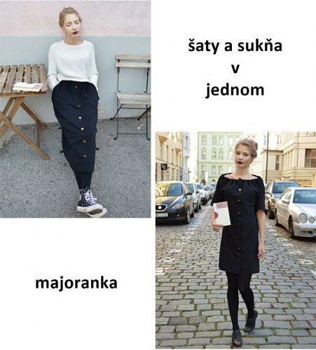 Čierne šaty a sukňa v jednom z hrubšieho materiálu
