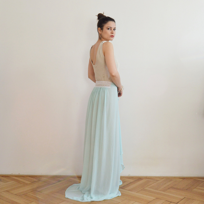 Light blue and beige romantic evening dress with lace, Prague