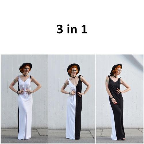 Černo bílé šaty s variabilním použitím.