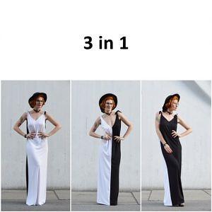 Čierno biele šaty, ktoré oblečiete na 3 rôzne spôsoby.