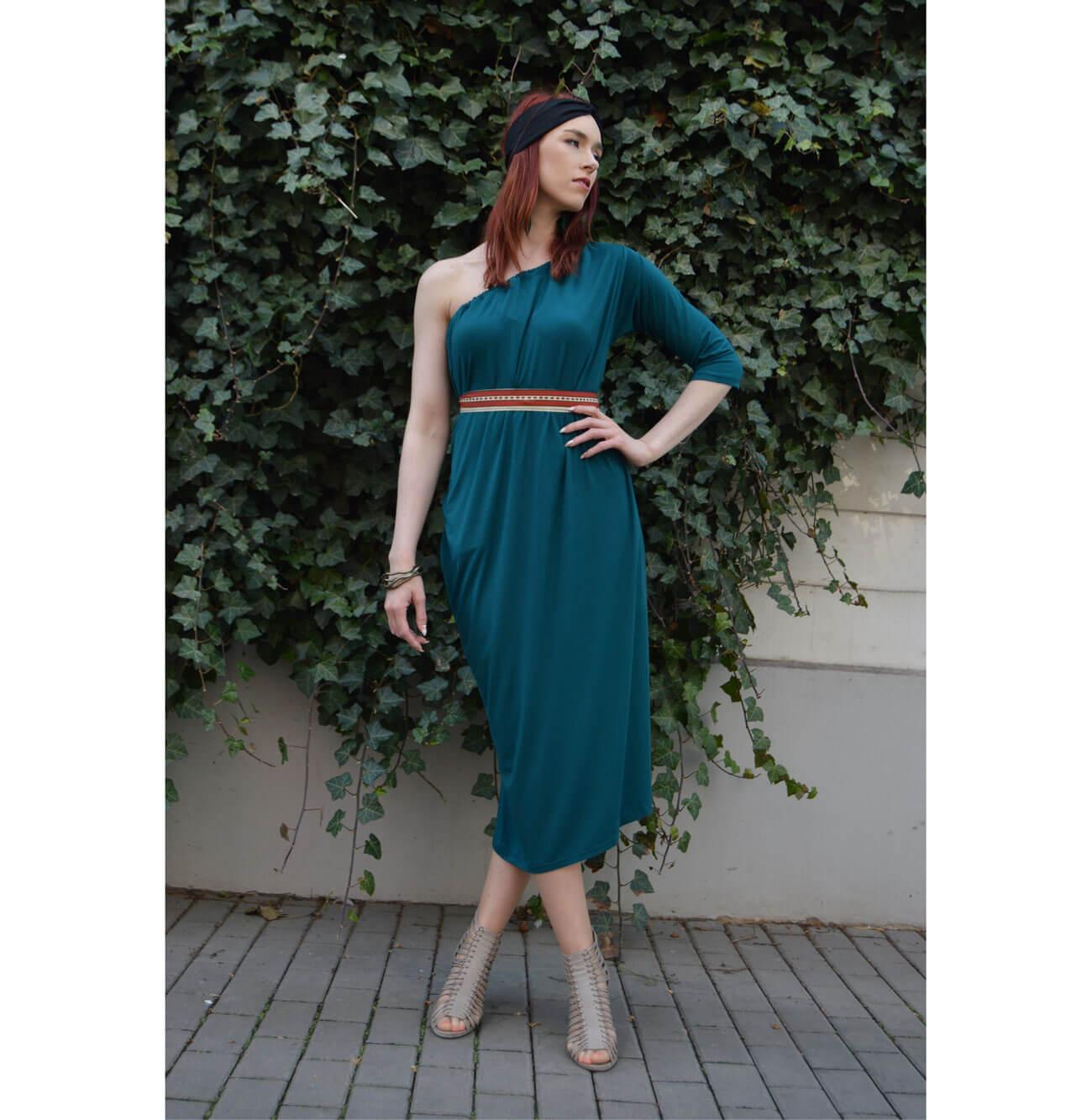 Emerald one sleeve slow fashion dress Prague
