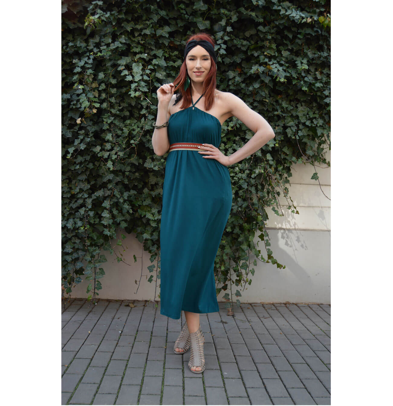 Emerald halter neck dress that you can wear in many ways
