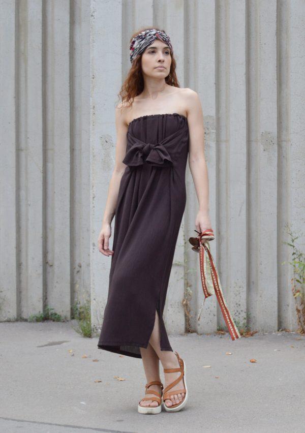 Hnědé dlouhé multifunkční šaty ve verzi bez ramínej s mašlí vpředu