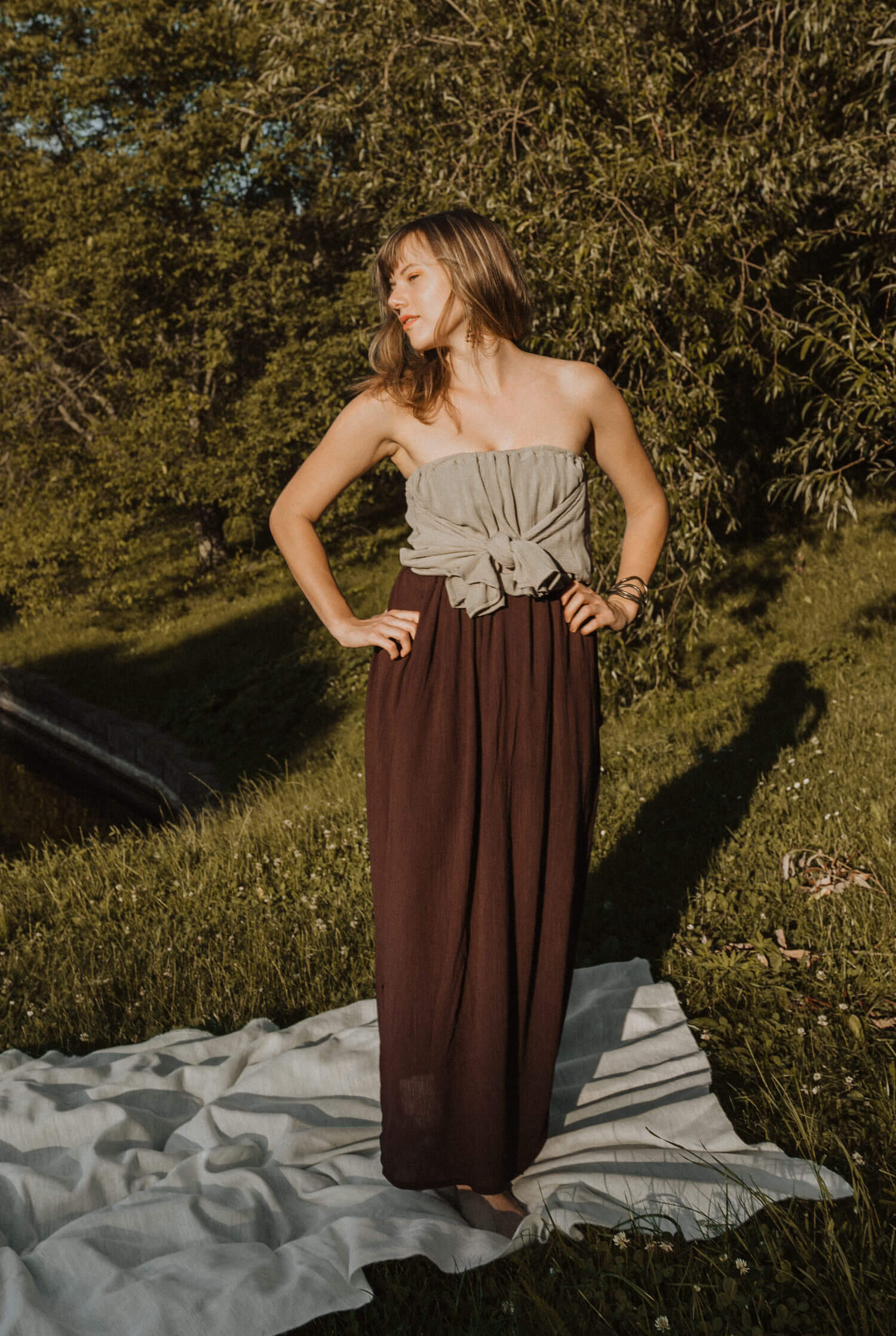 Brown long multifunctional skirt that you can wear as various dresses