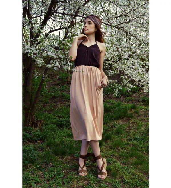 Trojštvrťová pastelová multifunkčná ružová sukňa s vreckami