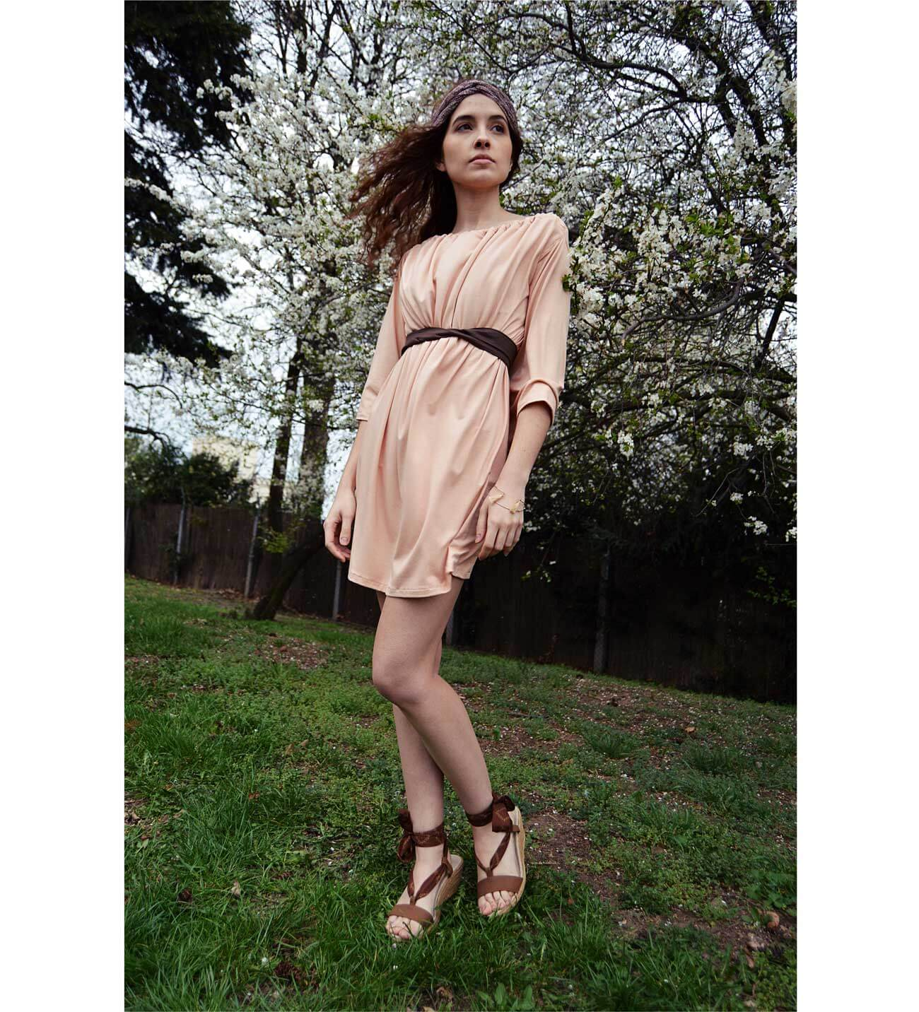 Salmon pink short variable slow fashion dress with sleeves Prague