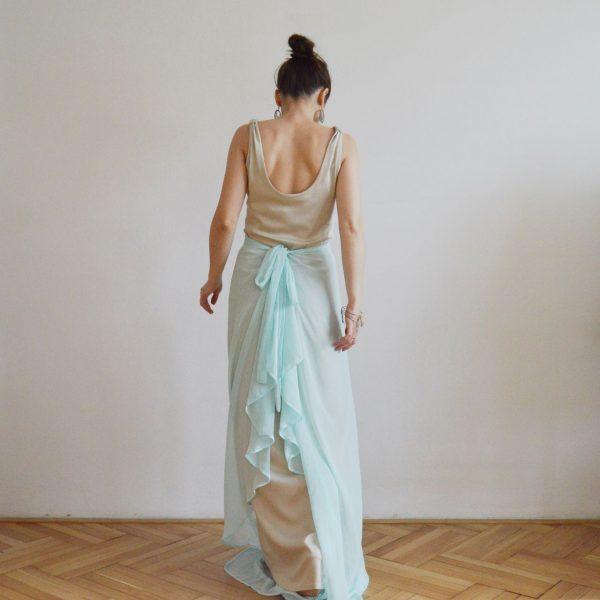 Modro béžové spoločenské šaty Praha