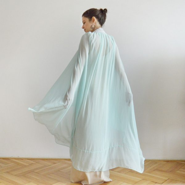 Světle modrá vázací společenská sukně