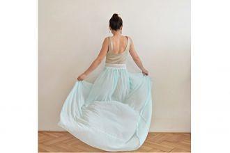 Svetlo modré romantické boho šaty od slovenskej návrhárky