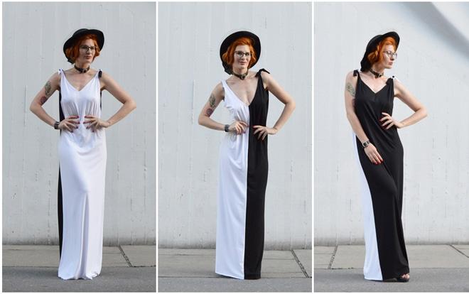 Elegantné čiernobiele variabilné šaty s výstrihom do V
