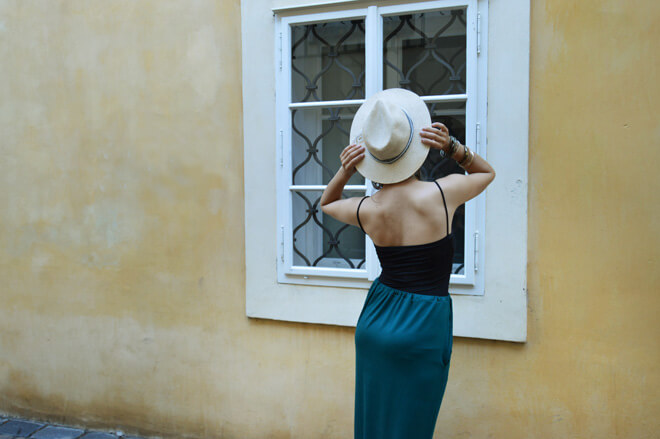 Dlouhá zelená variabilní sukně