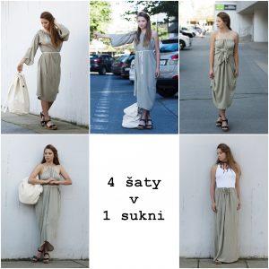 Dlhé svetlozelené variabilné šaty, ktoré je možné obliecť na mnoho spôsobov a dokonca aj ako sukňu.