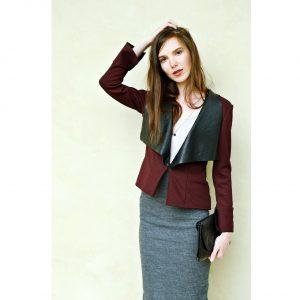 Bordové multifunkčné sako s rozšírenými rukávmi