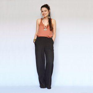 Dlhé ľahké široké nohavice s jemným aztéckym vzorom