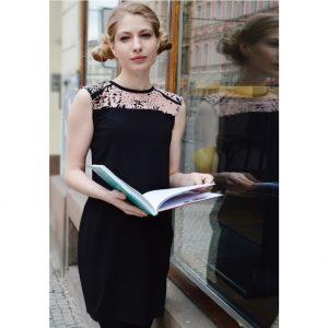 Černo růžové upcyklované puzdrové šaty
