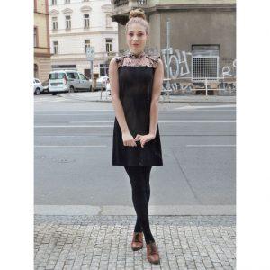 Růžovo černé čínské šaty 60tá létá