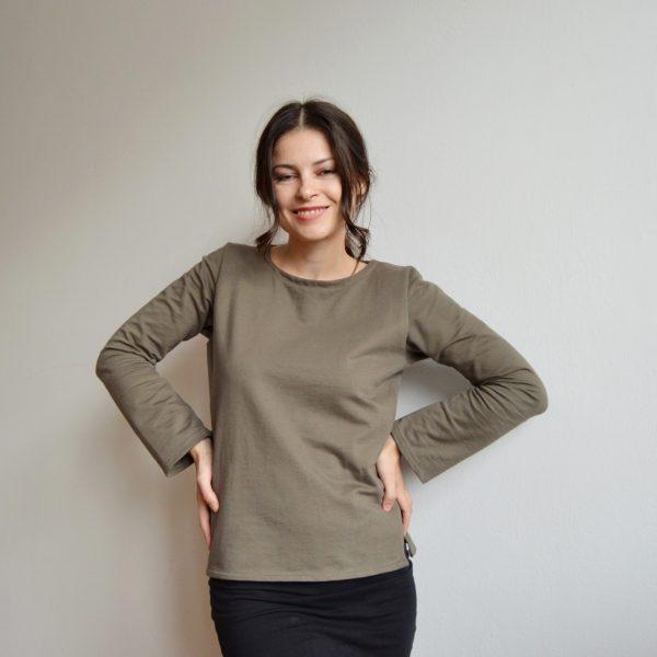 Vojensky zelené basic tričko vyrobené v ČR