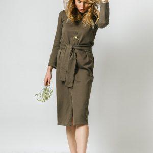 Khaki zelené bavlněné šaty s dlouhým rukávem a pod kolená