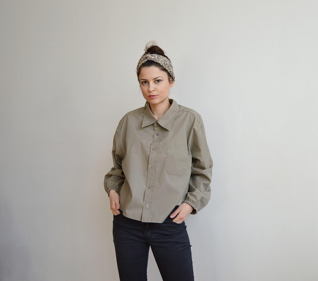 Upcyklovaná khaki zelená dámská košile