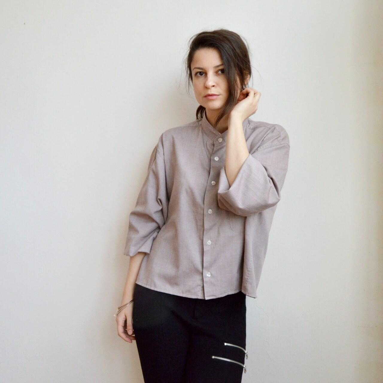 Upcyklovaná voľná jarná handmade košeľa..