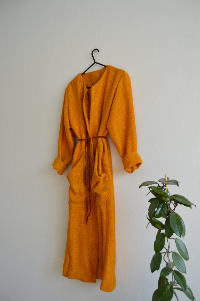 Spring orange slow fashion coat or cardigan Prague