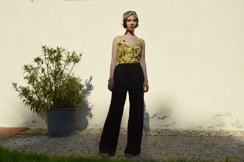 Žltý letný slow fashion top