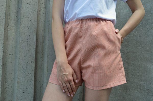Lososovoružové kárované krátke nohavice