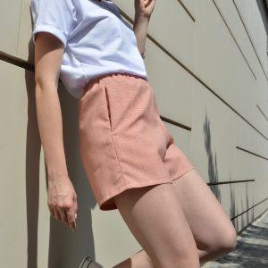 Krátke kárované slow fashion nohavice