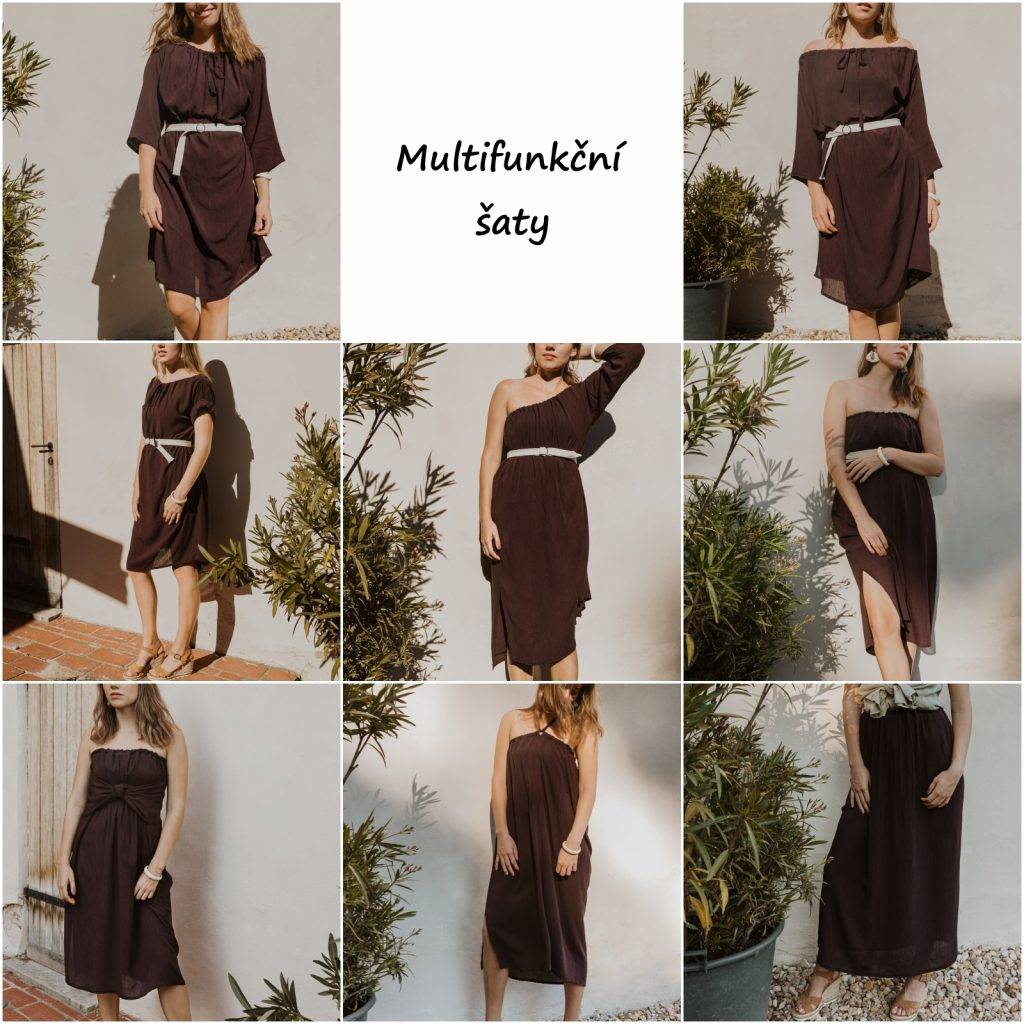 Hnedé letní šaty, které lze obléci různými způsoby