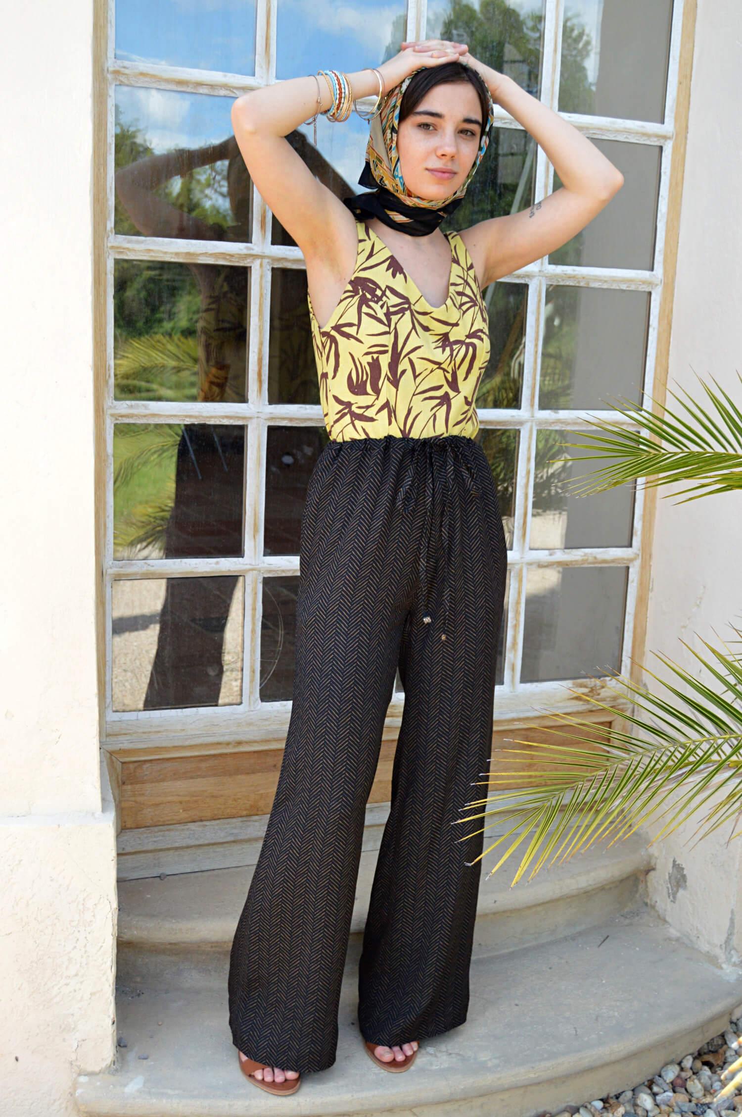 Letní slow fashion kalhoty s vysokým pasem