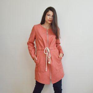 Ružová upcyklovaná slow fashion parka