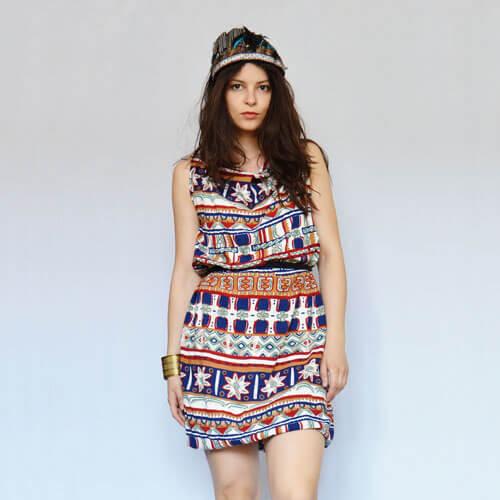 Aztec print upcycled dress Prague