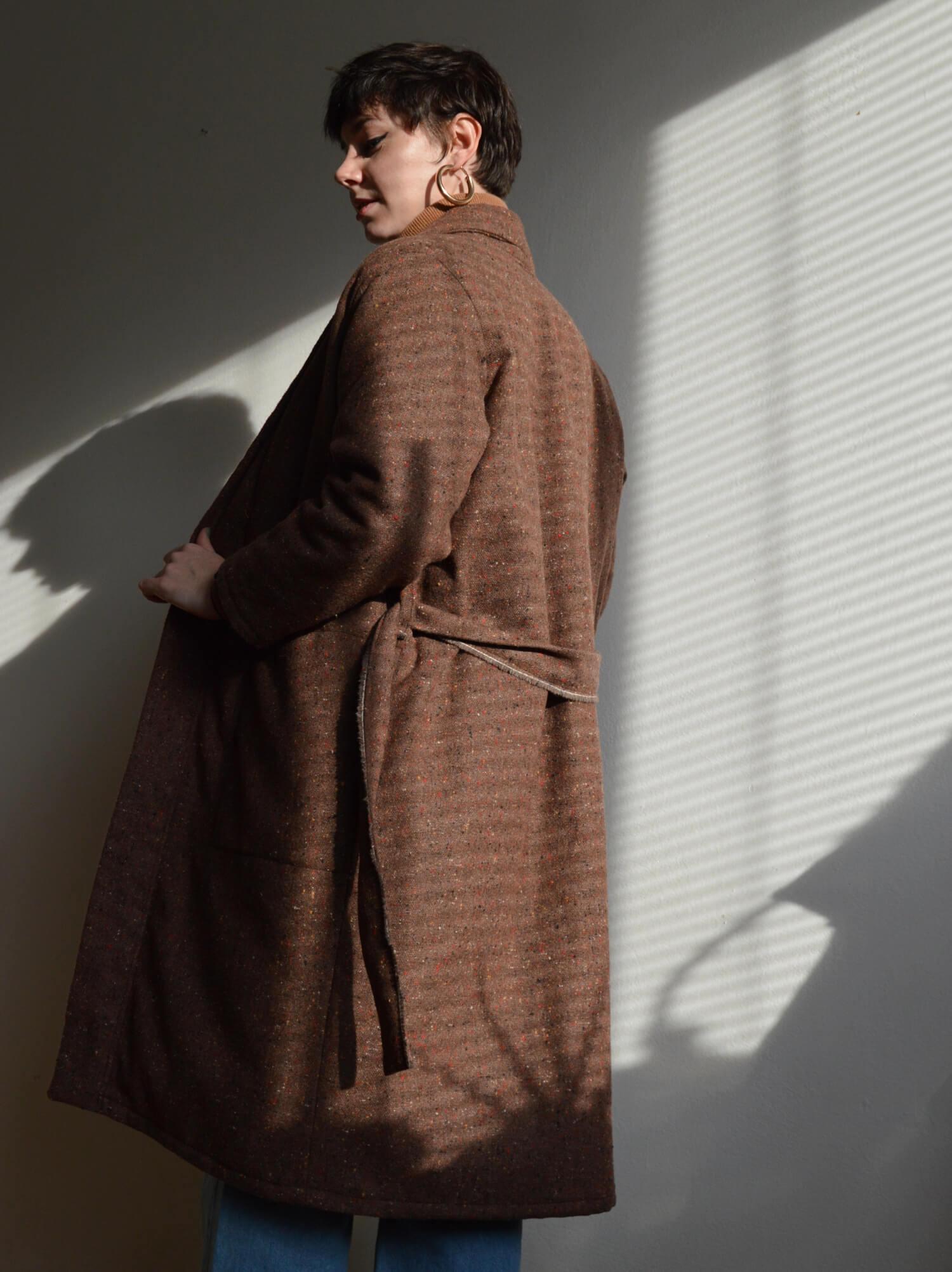 Hnedý zimný kabát s teplou vložkou