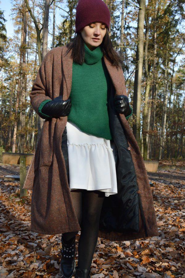 Hnedý vlnený multifunkčný kabát
