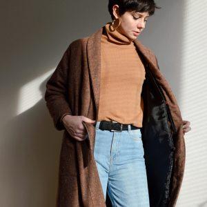 Vlnený zimný slow fashion kabát